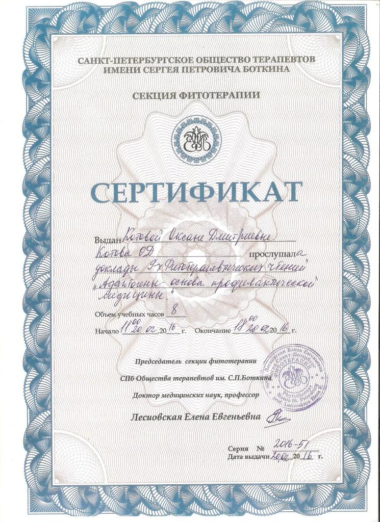 сертификат 001